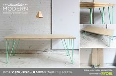 HomeMade Modern DIY The Easy hairpin leg Table - or with sprayed IKEA lerberg trestle leg for similar minimalist aesthetic