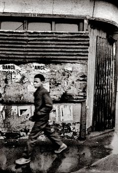 """Dance Poster, E2 (1964) - """"I was taking a picture of the distressed posters when he glided past."""" John Claridge"""