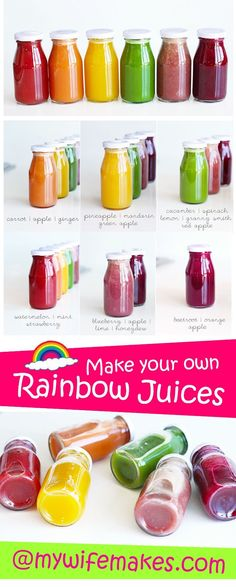 Recipe for beautiful, healthy Rainbow Cold Pressed Juices. A different taste for a different day!