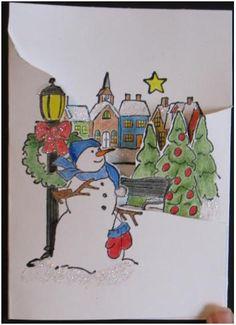 """Christmas Village """"Tryfolds"""" Card"""