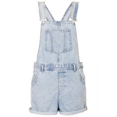 TOPSHOP MOTO Short Denim Dungarees (£15) ❤ liked on Polyvore featuring jumpsuits, rompers, shorts, overalls, dresses, jumpsuit, bleach stone, blue bib overalls, blue overalls and blue jumpsuit