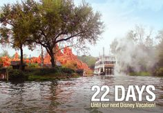 """22 Days until our next Disney Vacation!  We are counting the days to our next Disney trip with our favorite pics taken at the parks. This photo is of The Liberty Belle paddle wheel riverboat at the Magic Kingdom near Tom Sawyer Island. Let us know if you """"Like""""."""