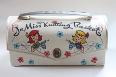Jr. Miss Knitting Basket. 1950s Girl's Craft Kit by ThriftCore. vintage.