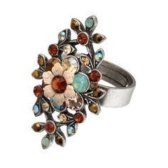Michal Negrin Silver Coating Ring with Beige Hand Painted Flower, Blue and Brown Swarovski Crystals: Jewelry: Amazon.com