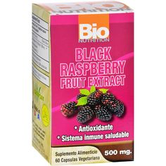 Bio Nutrition Black Raspberry Fruit Extract - 60 Vegetarian Capsules - Bio Nutrition Black Raspberry Fruit Extract Description: Antioxidant Healthy Immune System Black Raspberries (Rubus Eucodermis L. ) are native to North America and can provide an abundance of beneficial nutrients that may positively affect ones health if consumed regularly. Bio Nutrition uses the finest quality Black Raspberries, containing high levels of antioxidants including anthocyanins and phenols such as ellagic…