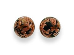 Sterling Silver Black and Copper Color Murano Glass Earrings