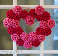 Love this Crochet Rose Heart Wreath from Petals to Picots. Free Rose pattern!.