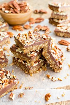 No Bake Paleo Chocolate Pecan Bars. No Bake Paleo Choco Pecan Bars: a recipe for deliciously textured pecan bars topped with a thick layer of chocolate and nuts. Paleo Sweets, Paleo Dessert, Low Carb Desserts, Gluten Free Desserts, Dessert Bars, Vegan Gluten Free, Dessert Recipes, Dairy Free, Grain Free