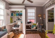 I know it's about the closet offices but I LOVE the gray and white combo in this room. Especially with the pops of pink and yellow and blue. Out-of-Sight Style: Inspiration and Resources for a Compact Closet Office Closet Office, Closet Bedroom, Apartment Therapy, Couples Apartment, Small Closet Organization, Organization Ideas, Small Closets, 6 Years, House Tours