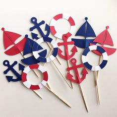 Nautical Themed Cupcake Toppers - Sailboats, Anchors & Life Preserver - Set of 12 - Navy and Red Nautical Banner, Nautical Party, Vintage Nautical, Baby Birthday, Birthday Parties, Sailor Theme, Themed Cupcakes, Party Packs, Birthday Decorations
