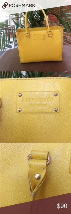 Kate Spade Yellow Tote Purse Shoulder Bag 💕 a beautiful canary yellow summer-time Kate Spade purse in fairly decent condition. 💕 kate spade Bags Shoulder Bags