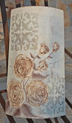 Decorated roof tile - relief paste
