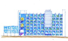 A sketch of the North Eastern elevation for the refurbishment of the Plant and Food Research building, in Mt. Albert.