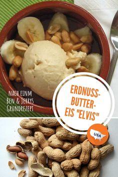 "Peanutbutter Ice-Cream ""Elvis"" (Erdnussbutter-Eis) Ben Und Jerrys, Peanut Butter Ice Cream, American Food, Cheese, Desserts, Sweet, Recipes, Usa, Places"