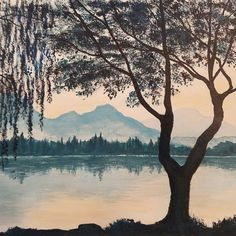 Weeping willow lakeside reflection #acrylicpainting tutorial on YouTube Live Sat…