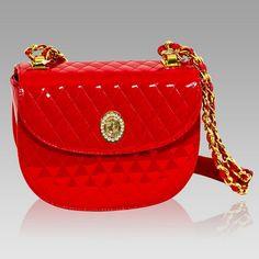 $984.00+-+Valentino+Orlandi+Designer+Red+Chanel+Leather+Half+Moon+Chain+Bag+[01VO4585CLRD]+:+Italian+Leather+Handbags,+Top+Rated+Designer+Hand+Bags,+Trendy+Designer+Handbags