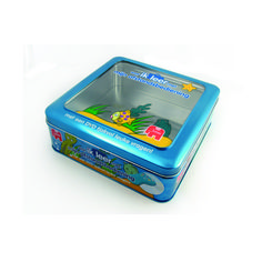 Game tin box with window on the cover. http://www.tinpak.us/Products/Windowgametinbox.html