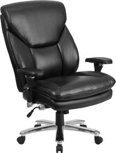 Flash Furniture GO-2085-LEA-GG HERCULES Series 24/7 Intensive Use, Multi-Shift, Big & Tall 400 lb. Capacity Black Leather Executive Swivel Chair with Lumbar Support Knob