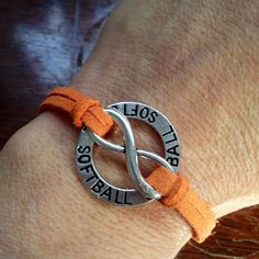 Softball Forever Bracelet....custom colored strap by HGDesign1, $7.00