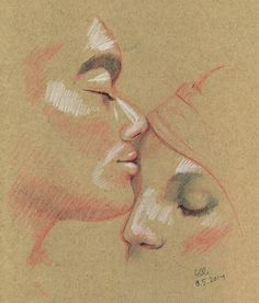 Sweet Kisses - drawing by Elli Maanpää 2014 // #kiss #kissess #love #drawing #pencil #sketch