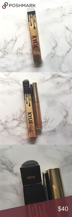 HOLD-NWT Kylie Cosmetics Birthday Poppin Lip Gloss NWT-Poppin lipgloss by kylie cosmetics. Super cute packaging and proof of purchase in last picture. Will be shipped in the original kylie box if you buy this and the rose gold creme shadow listed. Limited edition and not available in the regular collection so please do not comment about the price but make offers! No trades! Kylie Cosmetics Makeup Lip Balm & Gloss