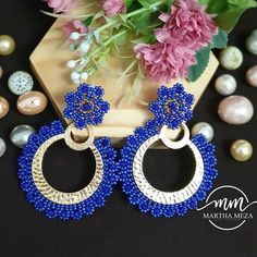 Martha Meza Accesorios Beaded Earrings Patterns, Seed Bead Earrings, Crochet Earrings, Handmade Beaded Jewelry, Brick Stitch, Washer Necklace, Diy And Crafts, Great Gifts, Creations