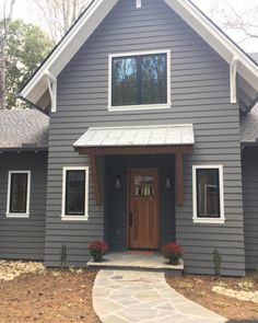 Benjamin Moore Kendall Charcoal Gray Paint Color Palette Exterior Paint - Home & DIY Exterior Gris, Exterior Gray Paint, Exterior Color Schemes, Exterior Paint Colors For House, Paint Colors For Home, Exterior Design, Cottage Exterior Colors, Exterior Paint Ideas, Exterior House Paint Colors