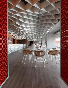 Designed by Greek studio LM Architects, the V'ammos Restaurant is positioned directly above the stands to give diners a panoramic view into the Karaiskakis Stadium, located in the south-west of Athens Deco Restaurant, Restaurant Design, Commercial Interior Design, Commercial Interiors, Espace Design, Bar Design Awards, Ceiling Design, Office Interiors, Retail Design