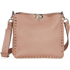 Valentino Rockstud Pebbled Leather Hobo Messenger Bag ❤ liked on Polyvore featuring bags, messenger bags, bolsas, hobo bags, courier bag, beige hobo bag and pebbled-leather bags