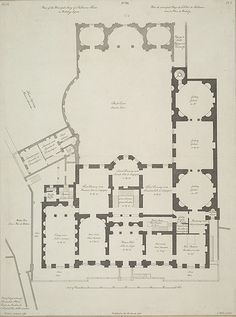 Plans of Lansdowne (Shelbourne) House 1765, designed by Robert Adam as a private house and for most of its time as a residence it belonged to the Petty-FitzMaurice family, Marquesses of Lansdowne and earls of Shelbourne (hence the name Shelbourne on the plan)