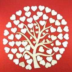 Corazón boda árbol con las piezas de corazón 71 por Holzteilchen