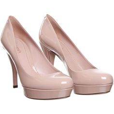 Gucci Lisbeth Light Pink Patent Leather Shoe ($435) ❤ liked on Polyvore