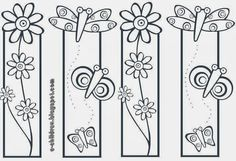 flowers and butterflies Bookmark Template, Bookmark Craft, Bookmarks Kids, Coloring Book Pages, Coloring Sheets, Art For Kids, Crafts For Kids, Book Markers, Doodle Art