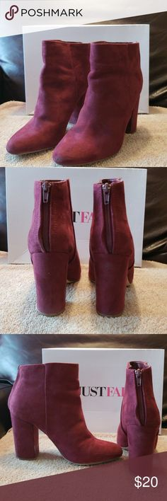 6b9bf7b6b3b Just Fab shoes Faux suede ankle boots Burgundy JustFab Shoes Ankle Boots    Booties