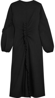 Tibi - Open-back Ruffed Stretch-jersey Midi Dress - Black