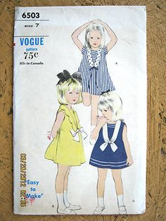 Vtg 1960 70s Vogue Girls Nautical Sailor Dress Sewing Pattern Sz7 Uncut FF | eBay