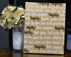 Custom Wedding Vow Art Canvas Wall Art Painting Gold White & Red Wedding Gift Wedding Decoration Home Decor First Dance Song Lyric Painting