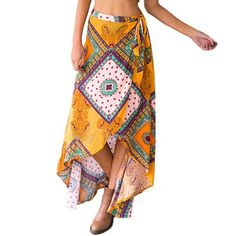 Boho Floral Print Wrap Skirt with Tie Up Straps