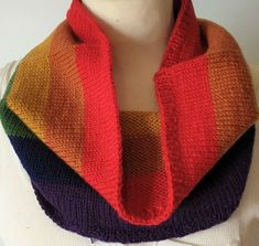 Hand-knitted scarf/cowl for winter and outdoors in Pride rainbow colors. Rainbow Pride, Winter Is Coming, Rainbow Colors, Mittens, Hand Knitting, Cowl, Pure Products, Ebay, Accessories