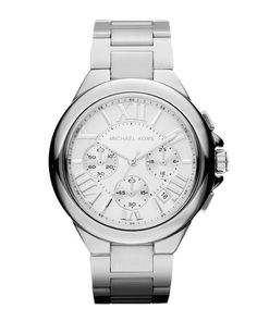 44c9c82e8ef7 This Michael Kors Camille watch comes with a stainless steel bracelet and a  silver dial with chronograph and date display. Precise quartz movement  completes ...