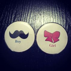 Gender Reveal- Mustache and bows theme. I bought the buttons at Michaels for $4.99 for a 12 pack. Then I chose my template online and copied and pasted. I then cut the circle out and snapped the button together and voila!
