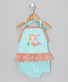 Take a look at this Turquoise Mermaid Ruffle One-Piece - Infant, Toddler & Girls by Velani Classics on #zulily today!