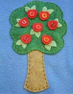 quiet book page idea-  button on felt apples