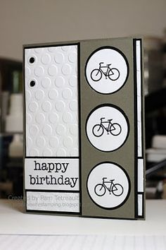 """Use the """"Joy Ride"""" stamp set to cruise along on this handmade birthday card!  Placing the bicycles inside black and white circles matches the Seeing Spots embossed dots on the background."""