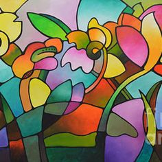 Modern art, abstract geometric floral landscape giclee print on stretched canvas, from my original abstract painting, floral cubist art Geometric Painting, Abstract Landscape Painting, Landscape Paintings, Abstract Art, Cubist Art, Art Mur, Wall Art, Inspiration Artistique, Tree Of Life Art