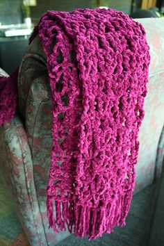 Free Crochet Pattern: Lacy Scarf from Lion Brand. Find it here: http://www.lionbrand.com/patterns/clsu-lacyScarf.html?noImages