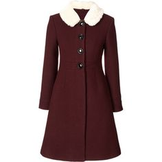 Orla Kiely Heavy Wool Fur Collar Coat