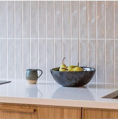 Our handmade glazed tiles are made in Spain and Portugal, each one is hand glazed meaning each one is completely unique and when laid they create a beautifully reflective surface. There are beautiful deep colours and subtle neutrals all with nuances and details that can only be created by natural pigments and hand glazing. Blue Kitchen Tiles, Grey Metro Tiles, Kitchen Splashback Tiles, Kitchen Feature Wall, Handmade Tile Kitchen, Grey Kitchen Designs, Metro Tiles, Herringbone Backsplash Kitchen, Kitchen Wall Tiles