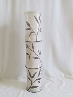 vase bambou  raku céramique grès fait main artisanal Jean-Pierre et Danièle Meyer