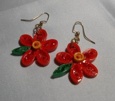 Orange Daisy with Brown and Green Accent by RheasOriginals on Etsy